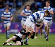 11 March 2019; Gus McCarthy of Blackrock College is tackled by Tadhg Brophy of Newbridge College during the Bank of Ireland Leinster Rugby Schools Junior Cup semi-final match between Newbridge College and Blackrock College at Energia Park in Donnybrook, Dublin. Photo by Harry Murphy/Sportsfile