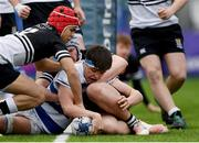 11 March 2019; Liam Molony of Blackrock College scores a try despite the tackle of Lucas Berti Newman of Newbridge College during the Bank of Ireland Leinster Rugby Schools Junior Cup semi-final match between Newbridge College and Blackrock College at Energia Park in Donnybrook, Dublin. Photo by Harry Murphy/Sportsfile