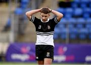 11 March 2019; Pierce  Fata of Newbridge College reacts following the Bank of Ireland Leinster Rugby Schools Junior Cup semi-final match between Newbridge College and Blackrock College at Energia Park in Donnybrook, Dublin. Photo by Harry Murphy/Sportsfile
