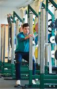 12 March 2019; Jacob Stockdale during an Ireland Rugby gym session at Carton House in Maynooth, Kildare. Photo by Ramsey Cardy/Sportsfile