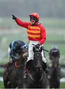 12 March 2019; Jockey Ruby Walsh celebrates as he crosses the line to win the Sky Bet Supreme Novices' Hurdle on Klassical Dream on Day One of the Cheltenham Racing Festival at Prestbury Park in Cheltenham, England. Photo by Seb Daly/Sportsfile