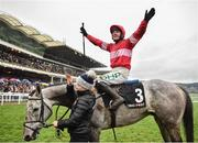12 March 2019; Jockey Paul Townend celebrates after winning the Racing Post Arkle Challenge Trophy Novices' Chase on Duc Des Genievres on Day One of the Cheltenham Racing Festival at Prestbury Park in Cheltenham, England. Photo by Seb Daly/Sportsfile