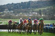 12 March 2019; Runners and riders clear the last first time round as Glen Forsa, with Jonathan Burke up, second from left, falls during the Racing Post Arkle Challenge Trophy Novices' Chase on Day One of the Cheltenham Racing Festival at Prestbury Park in Cheltenham, England. Photo by David Fitzgerald/Sportsfile