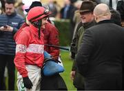 12 March 2019; Jockey Paul Townend speaks with trainer Willie Mullins after winning the Racing Post Arkle Challenge Trophy Novices' Chase on Day One of the Cheltenham Racing Festival at Prestbury Park in Cheltenham, England. Photo by David Fitzgerald/Sportsfile