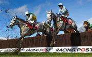 12 March 2019; Eventual second Vintage Clouds, with Danny Cook, up, left, jump the last alongside Activial, with Tom Scudamore, up, on their second time round during the Ultima Handicap Chase on Day One of the Cheltenham Racing Festival at Prestbury Park in Cheltenham, England. Photo by David Fitzgerald/Sportsfile
