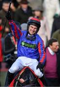 12 March 2019; Jockey Jeremiah McGrath celebrates after winning the Ultima Handicap Chase on Beware The Bear on Day One of the Cheltenham Racing Festival at Prestbury Park in Cheltenham, England. Photo by Seb Daly/Sportsfile