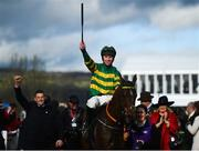 12 March 2019; Mark Walsh celebrates on Espoir D'Allen after winning the Unibet Champion Hurdle Challenge Trophy on Day One of the Cheltenham Racing Festival at Prestbury Park in Cheltenham, England. Photo by David Fitzgerald/Sportsfile