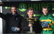12 March 2019; Winning trainer Gavin Cromwell, left, owner JP McManus, centre, and jockey Mark Walsh after sending out Espoir D'Allen to win the Unibet Champion Hurdle Challenge Trophy on Day One of the Cheltenham Racing Festival at Prestbury Park in Cheltenham, England. Photo by David Fitzgerald/Sportsfile