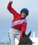 12 March 2019; Rachael Blackmore celebrates on A Plus Tard after winning the Close Brothers Novices' Handicap Chase on Day One of the Cheltenham Racing Festival at Prestbury Park in Cheltenham, England. Photo by David Fitzgerald/Sportsfile