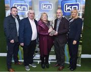 13 March 2019; Tyrone football manager Mickey Harte with from left Gary Ahern, John Courtney, Brenda Courtney and Vanessa Cunningham from KN Group at today's launch of the 20th annual KN Group All-Ireland GAA Golf Challenge in St. Jude's GAA club. On August 9 and 10, the two-day event takes place in Concra Wood and Nuremore Golf Clubs in County Monaghan. Golfers will congregate to represent their GAA clubs in their hope of claiming All-Ireland glory while raising funds for much-needed GAA-associated charities such as Raharney youngster Fionn McAnaney. For more information follow @GolfGAA on Twitter or All-Ireland GAA Golf Challenge on Facebook. Photo by Matt Browne/Sportsfile