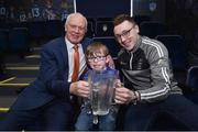 13 March 2019; Seven year old Fionn McAnaney, from Raharney GAA, Mullingar, Co Westmeath, who is the main benefactor of the 20th annual KN Group All-Ireland GAA Golf Challenge with former Dublin footballer Barney Rock, left, and Waterford hurler Kieran Bennett at today's launch of the 20th annual KN Group All-Ireland GAA Golf Challenge in St. Jude's GAA club. On August 9 and 10, the two-day event takes place in Concra Wood and Nuremore Golf Clubs in County Monaghan. Golfers will congregate to represent their GAA clubs in their hope of claiming All-Ireland glory while raising funds for much-needed GAA-associated charities such as Raharney youngster Fionn McAnaney. For more information follow @GolfGAA on Twitter or All-Ireland GAA Golf Challenge on Facebook. Photo by Matt Browne/Sportsfile
