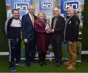 "13 March 2019; Brenda Courtney, with, from left, Wexford hurling manager Davy Fitzgerald, former Dublin footballer Barney Rock, Tyrone manager Mickey Harte and former Monaghan footballer Eugene ""Nudie"" Hughes at today's launch of the 20th annual KN Group All-Ireland GAA Golf Challenge in St. Jude's GAA club. On August 9 and 10, the two-day event takes place in Concra Wood and Nuremore Golf Clubs in County Monaghan. Golfers will congregate to represent their GAA clubs in their hope of claiming All-Ireland glory while raising funds for much-needed GAA-associated charities such as Raharney youngster Fionn McAnaney. For more information follow @GolfGAA on Twitter or All-Ireland GAA Golf Challenge on Facebook. Photo by Matt Browne/Sportsfile"