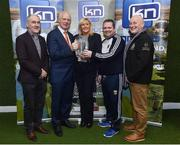 "13 March 2019; Vanessa Cunningham, from KN Group, with, from left, Tyrone manager Mickey Harte, former Dublin footballer Barney Rock, Wexford manager Davy Fitzgerald and former Monaghan footballer Eugene ""Nudie"" Hughes at today's launch of the 20th annual KN Group All-Ireland GAA Golf Challenge in St. Jude's GAA club. On August 9 and 10, the two-day event takes place in Concra Wood and Nuremore Golf Clubs in County Monaghan. Golfers will congregate to represent their GAA clubs in their hope of claiming All-Ireland glory while raising funds for much-needed GAA-associated charities such as Raharney youngster Fionn McAnaney. For more information follow @GolfGAA on Twitter or All-Ireland GAA Golf Challenge on Facebook. Photo by Matt Browne/Sportsfile"