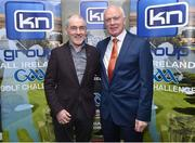 13 March 2019; Tyrone football manager Mickey Harte, left, with former Dublin footballer Barney Rock at today's launch of the 20th annual KN Group All-Ireland GAA Golf Challenge in St. Jude's GAA club. On August 9 and 10, the two-day event takes place in Concra Wood and Nuremore Golf Clubs in County Monaghan. Golfers will congregate to represent their GAA clubs in their hope of claiming All-Ireland glory while raising funds for much-needed GAA-associated charities such as Raharney youngster Fionn McAnaney. For more information follow @GolfGAA on Twitter or All-Ireland GAA Golf Challenge on Facebook. Photo by Matt Browne/Sportsfile