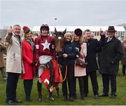 13 March 2019; Winning connections including owner Michael O'Leary and wife Anita, jockey Keith Donoghue, trainer Gordon Elliott and Eddie O'Leary of Gigginstown Stud, after winning the Glenfarclas Cross Country Chase with Tiger Roll on Day Two of the Cheltenham Racing Festival at Prestbury Park in Cheltenham, England. Photo by Seb Daly/Sportsfile