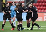 13 March 2019; Christina Dring of University College Cork, second from right, celebrates with team-mates after scoring her side's first goal during the WSCAI Kelly Cup Final match between University College Cork and Maynooth University at Seaview in Belfast. Photo by Oliver McVeigh/Sportsfile
