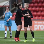 13 March 2019; Christina Dring of University College Cork, right, celebrates with Emilie Mesec after scoring her side's first goal in the WSCAI Kelly Cup Final match between University College Cork and Maynooth University at Seaview in Belfast. Photo by Oliver McVeigh/Sportsfile
