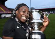 13 March 2019; Vanessa Ogbonna of University College Cork celebrates with the Kelly Cup after the WSCAI Kelly Cup Final match between University College Cork and Maynooth University at Seaview in Belfast. Photo by Oliver McVeigh/Sportsfile