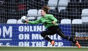 13 March 2019; Clodagh Walsh of University College Cork saving a penalty during the penalty shoot out in the WSCAI Kelly Cup Final match between University College Cork and Maynooth University at Seaview in Belfast. Photo by Oliver McVeigh/Sportsfile