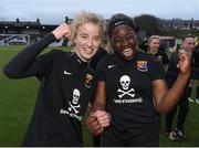 13 March 2019; Christina Dring and Vanessa Ogbonna of University College Cork celebrate after winning the WSCAI Kelly Cup Final match between University College Cork and Maynooth University at Seaview in Belfast. Photo by Oliver McVeigh/Sportsfile