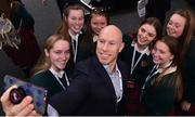 14 March 2019; Former Irish rugby international Peter Stringer takes a selfie with attendees from Holy Faith Secondary School, Clontarf, Co, Dublin at the AIB Future Sparks Festival in the RDS, Dublin. The event saw over 40 leaders in business, sport, music, technology and creative arts meet with 7,500 students from across Ireland inspiring conversation and celebrating the opportunities within their futures with a series of hands-on workshops, inspirational talks and panel discussions with thought leaders from a broad range of industries and disciplines. #backingstudents. Photo by Sam Barnes/Sportsfile