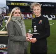 13 March 2019; Emma Yourell, Marketing executive of Rustlers Ireland, presents the player of the match award to Christina Dring of University College Cork after the WSCAI Kelly Cup Final match between University College Cork and Maynooth University at Seaview in Belfast. Photo by Oliver McVeigh/Sportsfile