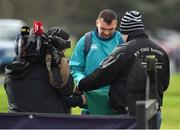 14 March 2019; Tadhg Beirne signs autographs on arrival for Ireland rugby squad training at Carton House in Maynooth, Kildare. Photo by Brendan Moran/Sportsfile