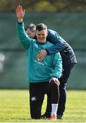 14 March 2019; Jonathan Sexton with physio Keith Fox during Ireland rugby squad training at Carton House in Maynooth, Kildare. Photo by Brendan Moran/Sportsfile