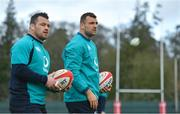 14 March 2019; Tadhg Beirne, right, and Cian Healy during Ireland rugby squad training at Carton House in Maynooth, Kildare. Photo by Brendan Moran/Sportsfile