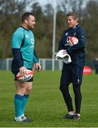 14 March 2019; Cian Healy, left, with forwards coach Simon Easterby during Ireland rugby squad training at Carton House in Maynooth, Kildare. Photo by Brendan Moran/Sportsfile