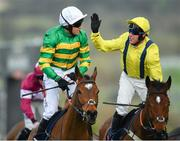 14 March 2019; Jockey Barry Geraghty, left, is congratulated by Robbie Power after winning the JLT Novices' Chase on Defi Du Seuil on Day Three of the Cheltenham Racing Festival at Prestbury Park in Cheltenham, England. Photo by Seb Daly/Sportsfile