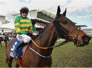 14 March 2019; Jockey Barry Geraghty celebrates after winning the Pertemps Network Final Handicap Hurdle on Sire Du Berlais on Day Three of the Cheltenham Racing Festival at Prestbury Park in Cheltenham, England. Photo by Seb Daly/Sportsfile