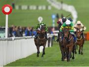 14 March 2019; Sire Du Berlais, right, with Barry Geraghty up, on their way to winning the Pertemps Network Final Handicap Hurdle on Day Three of the Cheltenham Racing Festival at Prestbury Park in Cheltenham, England. Photo by Seb Daly/Sportsfile