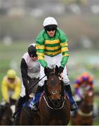 14 March 2019; Jockey Barry Geraghty after winning the Pertemps Network Final Handicap Hurdle on Sire Du Berlais on Day Three of the Cheltenham Racing Festival at Prestbury Park in Cheltenham, England. Photo by Seb Daly/Sportsfile
