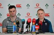 14 March 2019; Head coach Joe Schmidt and James Ryan during an Ireland rugby press conference at Carton House in Maynooth, Kildare. Photo by Brendan Moran/Sportsfile