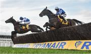14 March 2019; Frodon, with Bryony Frost up, right, jumps the last alongside Aso, with Charlie Deutsch up, on their way to winning the Ryanair Chase on Day Three of the Cheltenham Racing Festival at Prestbury Park in Cheltenham, England. Photo by David Fitzgerald/Sportsfile