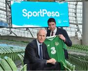 14 March 2019; Republic of Ireland manager Mick McCarthy joined SportPesa Head of Sponsorship Shaun Simmonds at the launch of a new two-year partnership with the Football Association of Ireland at the Aviva Stadium in Dublin. Photo by Matt Browne/Sportsfile