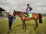 14 March 2019; Jockey Aidan Coleman celebrates after winning the Sun Racing Stayers' Hurdle on Paisley Park on Day Three of the Cheltenham Racing Festival at Prestbury Park in Cheltenham, England. Photo by Seb Daly/Sportsfile