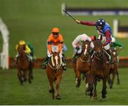 14 March 2019; Jockey Aidan Coleman celebrates as he crosses the line to win the Sun Racing Stayers' Hurdle on Paisley Park on Day Three of the Cheltenham Racing Festival at Prestbury Park in Cheltenham, England. Photo by Seb Daly/Sportsfile