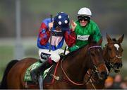 14 March 2019; Jockey Aidan Coleman, left, celebrates after winning the Sun Racing Stayers' Hurdle on Paisley Park on Day Three of the Cheltenham Racing Festival at Prestbury Park in Cheltenham, England. Photo by Seb Daly/Sportsfile