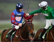 14 March 2019; Jockey Aidan Coleman, left, is congratulated by Sam Twiston-Davies after winning the Sun Racing Stayers' Hurdle on Paisley Park on Day Three of the Cheltenham Racing Festival at Prestbury Park in Cheltenham, England. Photo by Seb Daly/Sportsfile