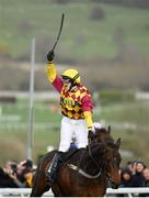 14 March 2019; Jockey Lizzie Kelly celebrates as she crosses the line to win the Brown Advisory & Merriebelle Stable Plate Handicap Chase on Siruh Du Lac on Day Three of the Cheltenham Racing Festival at Prestbury Park in Cheltenham, England. Photo by Seb Daly/Sportsfile