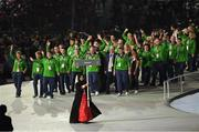 14 March 2019; Team Ireland is led out by Minister for Tourism, Transport and Sport Shane Ross, T.D., WWE wrestler Finn Balor and Special Olympics Chairman to the Board Brendan Whelan, during the Special Olympic World Games 2019 Opening Ceremony in the Zayed Sports City, Airport Road, Abu Dhabi, United Arab Emirates Photo by Ray McManus/Sportsfile