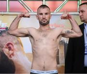 14 March 2019; John Joe Nevin weighs in ahead of his lightweight bout agaisnt Andres Figueroa at the Liacouras Center in Philadelphia, USA. Photo by Stephen McCarthy/Sportsfile