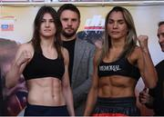 14 March 2019; Katie Taylor, left, and Rose Volante square off after weighing in ahead of their IBF, WBA & WBO Female Lightweight World titles unification bout at the Liacouras Center in Philadelphia, USA. Photo by Stephen McCarthy/Sportsfile