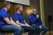 14 March 2019; Leinster backs Coach Felipe Contepomi with head coach Leo Cullen, and Leinster Communications Manager Marcus Ó Buachalla at an exclusive Questions & Answers session with Leinster Rugby Season Ticket Holders at the InterContinental Dublin. Photo by Matt Browne/Sportsfile