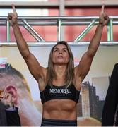 14 March 2019; Rose Volante weighs in ahead of her IBF, WBA & WBO Female Lightweight World titles unification bout with Katie Taylor at the Liacouras Center in Philadelphia, USA. Photo by Stephen McCarthy/Sportsfile