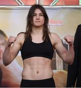 14 March 2019; Katie Taylor weighs in ahead of her IBF, WBA & WBO Female Lightweight World titles unification bout with Rose Volante at the Liacouras Center in Philadelphia, USA. Photo by Stephen McCarthy/Sportsfile