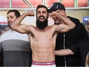 14 March 2019; Jono Carroll weighs in ahead of his IBF World Super Featherweight Title bout with Tevin Farmer at the Liacouras Center in Philadelphia, USA. Photo by Stephen McCarthy/Sportsfile