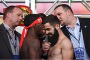 14 March 2019; Tevin Farmer, left, and Jono Carroll square off after weighing in ahead of their IBF World Super Featherweight Title bout at the Liacouras Center in Philadelphia, USA. Photo by Stephen McCarthy/Sportsfile